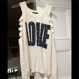 Forever 21 open sleeved LOVE sweater Sz Small